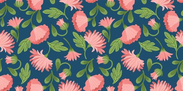 Padrão sem emenda floral. desenho vetorial para papel, capa, tecido, decoração de interiores e outros usuários