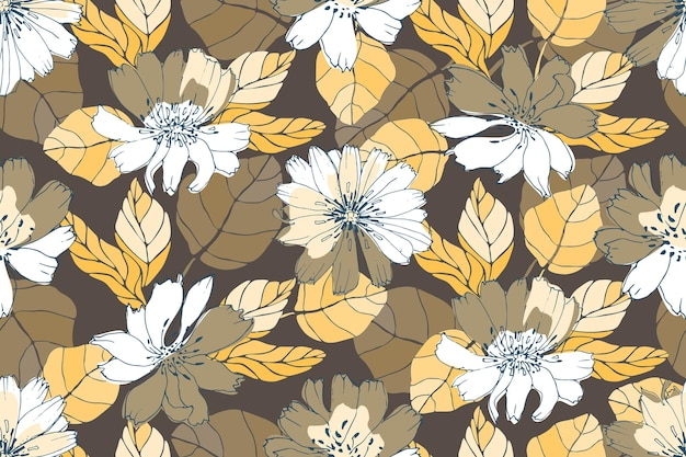 Padrão sem emenda floral do vetor. flores amarelas, brancas, marrons