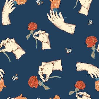 Padrão sem emenda floral do vetor vintage com mão de mulher. textura de flores botânicas rosa. fundo azul estilo barroco da regência desenhado à mão