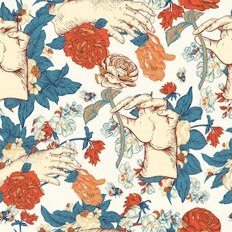 Padrão sem emenda floral do vetor vintage com mão de mulher. textura de flores botânicas rosa. fundo de estilo barroco regência desenhado à mão