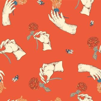 Padrão sem emenda floral do vetor vintage com mão de mulher. textura de flores botânicas rosa. fundo vermelho estilo barroco da regência desenhado à mão