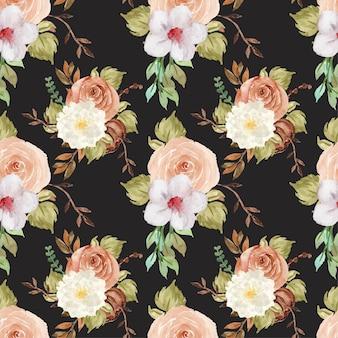 Padrão sem emenda floral elegante em aquarela de outono