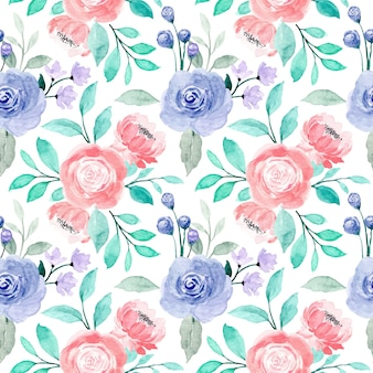 Padrão sem emenda floral em aquarela de rosas roxas rosa com folhas verdes