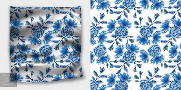 Padrão sem emenda floral em estilo chinês azul