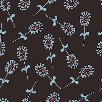 Padrão sem emenda floral em estilo de linha de arte impressão botânica abstrata de flores, folhas, galhos