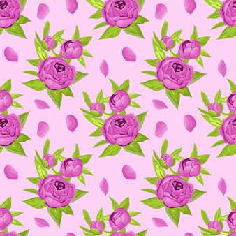 Padrão sem emenda floral em flores roxas. peônias no pano de fundo claro.