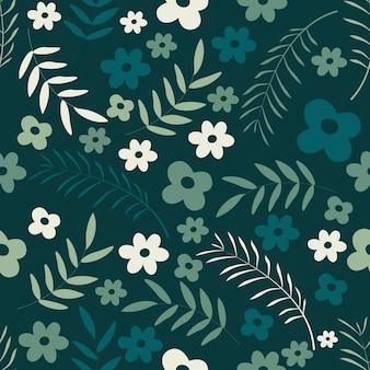 Padrão sem emenda floral em fundo branco verde e azul