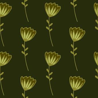 Padrão sem emenda floral escuro com flores abstratas contornadas