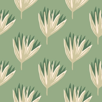 Padrão sem emenda floral estilizado pastel com botões de tulipa. flores em tons de bege em fundo verde suave.