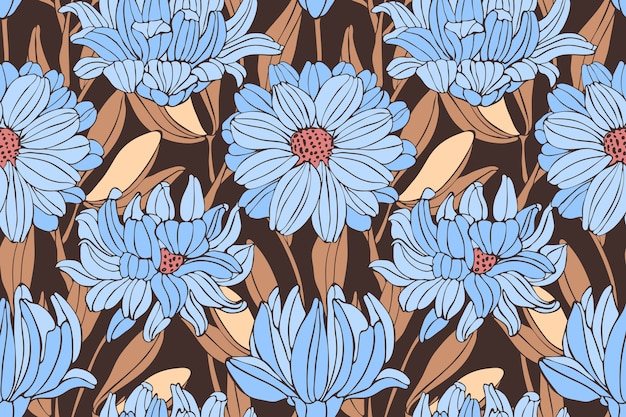 Padrão sem emenda floral outono. crisântemos azuis