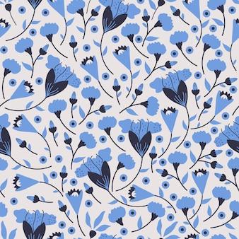 Padrão sem emenda floral. padrão de mão desenhada na cor azul clássica, com design de flor decadente.