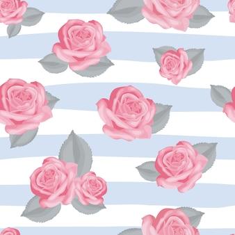 Padrão sem emenda floral retrô. rosas cor de rosa com folhas em fundo listrado azul e branco