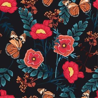 Padrão sem emenda floral romântico florescendo flores coloridas com borboleta jardim botânico