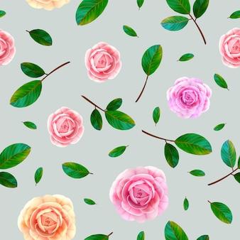 Padrão sem emenda floral rosa com flores desabrochando rosa e amarelas, folhas verdes sobre fundo cinza azul.