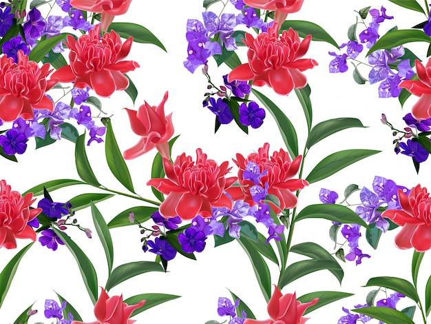 Padrão sem emenda floral tropical
