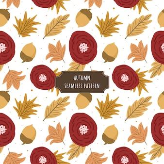 Padrão sem emenda floral vermelho de outono