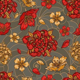 Padrão sem emenda floral vintage colorido com belas flores e pétalas de sakura e crisântemo
