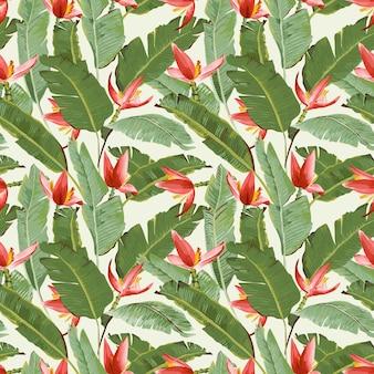 Padrão sem emenda. flores e folhas de palmeira tropicais. folhas de bananeira. flores de banana.