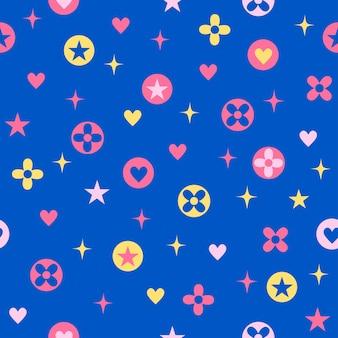 Padrão sem emenda fofo azul com flor de coração estrela e símbolo de brilho.