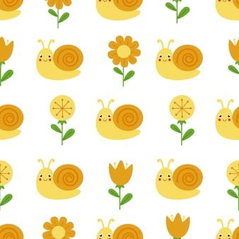 Padrão sem emenda fofo com caracol sorridente e flores fofas