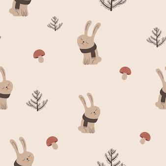 Padrão sem emenda fofo com cogumelos coelhinhos e árvores. ilustração em vetor desenhada à mão