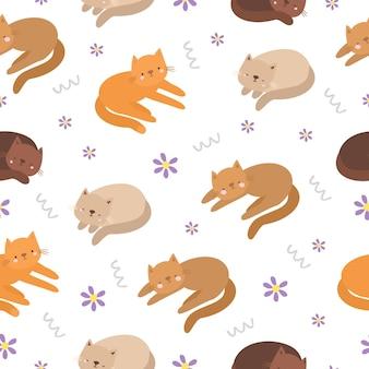 Padrão sem emenda fofo com gatos