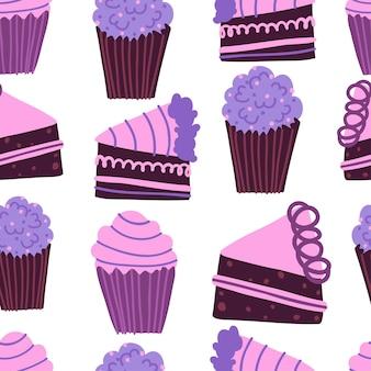 Padrão sem emenda fofo com ilustração de cupcakes e pedaços de bolo de aniversário isolado no branco