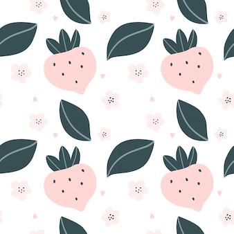 Padrão sem emenda fofo com morangos rosa e corações ilustração vetorial de estilo escandinavo