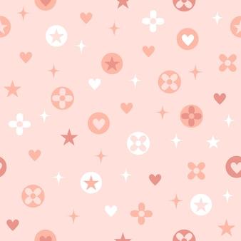 Padrão sem emenda fofo rosa com flor de coração estrela e símbolo de brilho.