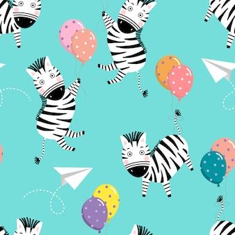 Padrão sem emenda fofo zebra e balão.