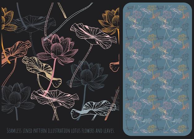 Padrão sem emenda forrado ilustração mão desenhada arte de flores de lótus e folhas.