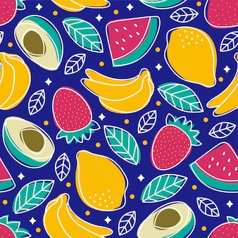Padrão sem emenda frutas tropicais abacate morango melancia banana limão