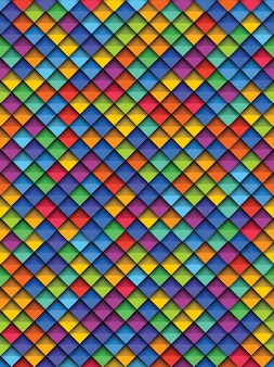 Padrão sem emenda geométrico colorido com papel cortado elementos quadrados realistas
