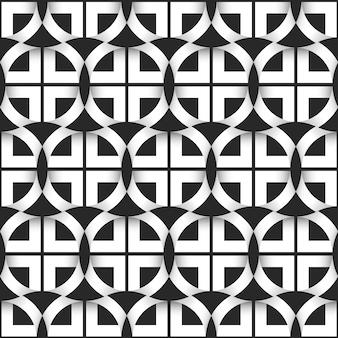 Padrão sem emenda geométrico de círculos preto e brancos