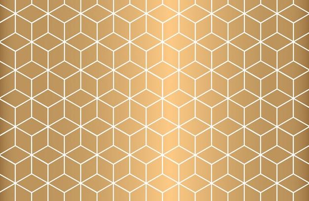 Padrão sem emenda geométrico de contorno branco sobre fundo dourado.