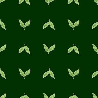 Padrão sem emenda geométrico de ervas com silhuetas de folhas simples com contornos. cenário de folhagem. fundo verde. ilustração vetorial para estampas de têxteis sazonais, tecidos, cenários e papéis de parede.