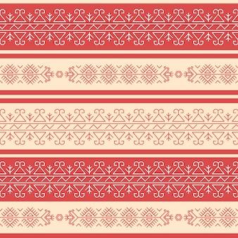 Padrão sem emenda geométrico rad-e-branco tradicional no estilo búlgaro.