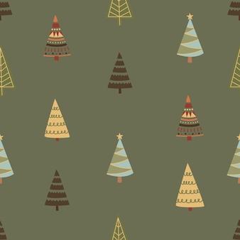 Padrão sem emenda gráfico de inverno com árvores de natal. ilustração em vetor desenhado à mão. papel de embrulho de natal.