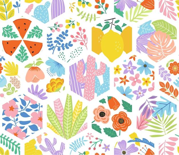 Padrão sem emenda hexagonal floral fofo