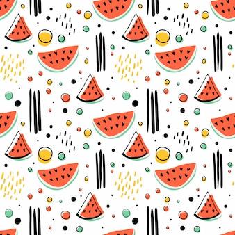 Padrão sem emenda hipster com melancias e figuras geométricas