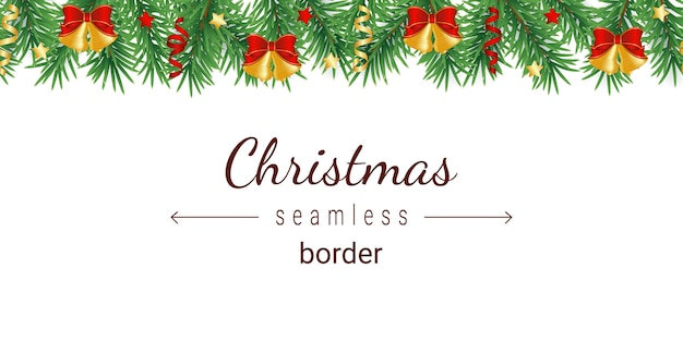Padrão sem emenda horizontal de árvore de natal decorada com estrelas vermelhas e douradas, fitas e sinos com arcos.