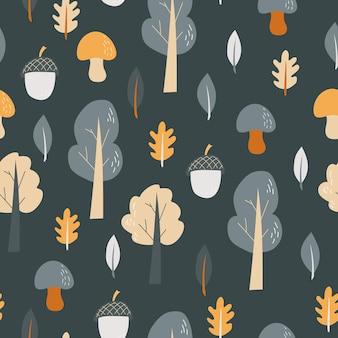 Padrão sem emenda - ilustração em vetor de objetos da natureza da floresta desenhada à mão em cinza escuro. floresta de outono