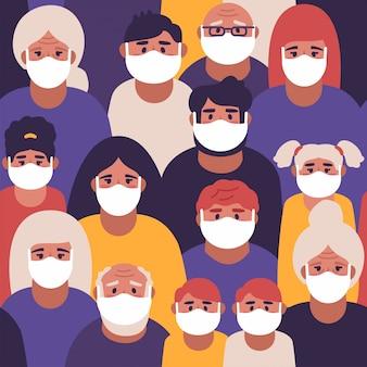 Padrão sem emenda. imagem de pessoas usando máscaras médicas se protegendo do vírus. epidemia de coronavírus.