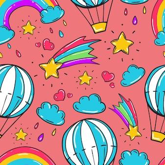 Padrão sem emenda infantil com balão, estrelas, arco-íris e outros elementos em estilo doodle