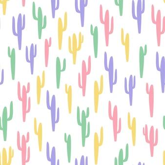 Padrão sem emenda infantil com cacto em fundo branco em estilo cartoon. textura bonita para design de quarto de crianças, papel de parede, têxteis, papel de embrulho, vestuário. ilustração vetorial