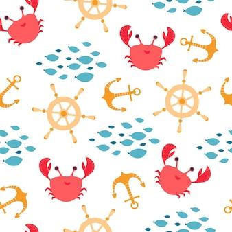Padrão sem emenda infantil com caranguejo, peixe, leme, âncora no estilo cartoon. textura para design de quarto de crianças, papel de parede, têxteis, papel de embrulho, vestuário. ilustração vetorial
