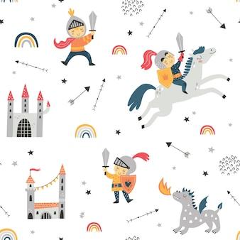 Padrão sem emenda infantil com cavaleiro dragão e castelo perfeito para crianças projetar embrulho de tecido