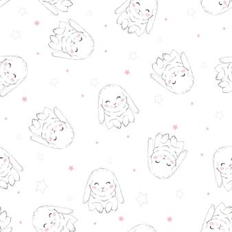 Padrão sem emenda infantil com coelhinhos de desenhos animados