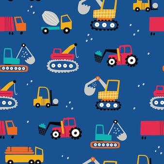 Padrão sem emenda infantil com equipamentos de construção. textura de crianças criativas para tecido têxtil
