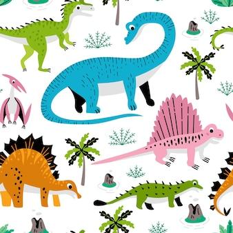 Padrão sem emenda infantil com ilustração de estoque de tecido de dinossauro desenhada à mão